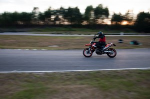 KTM 690 SMC on the race track